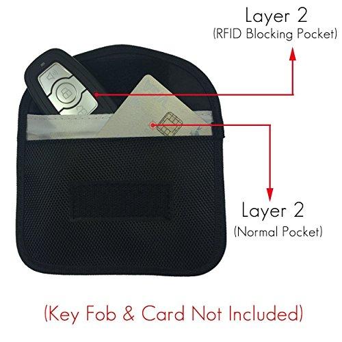 Naviurway Key Fob Signal Blocking Bag Auto RFID Blocking Holder Anti-hacking Security Bag for Car Smart Keyless Entry Remote Fob Controller Black by Naviurway (Image #1)