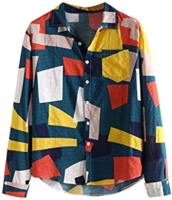 SPORTTIN Mens Long Sleeve Plaid Shirts Casual Classic Style Patchwork Button Down Loose Coat(Blue,XL