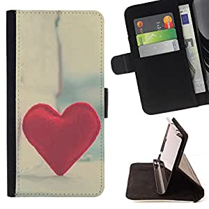 BullDog Case - FOR/Samsung Galaxy S4 Mini i9190 / - / Love Hipster Heart /- Monedero de cuero de la PU Llevar cubierta de la caja con el ID Credit Card Slots Flip funda de cuer