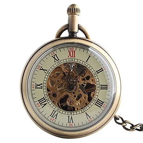 TODDCAHALAN Skeleton Pocket Watch Mechanical Movement Hand Wind half Hunter Engraved F027 (Mechanical Pocket Watch Engraved)