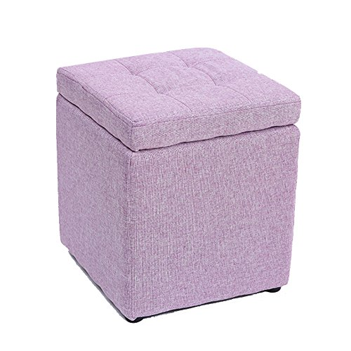 n Cube,Linen Upholstered Footstool Sofa Stool Collection Box Solid Wood Shoe Change Stool-Lavender 12x12x14in ()
