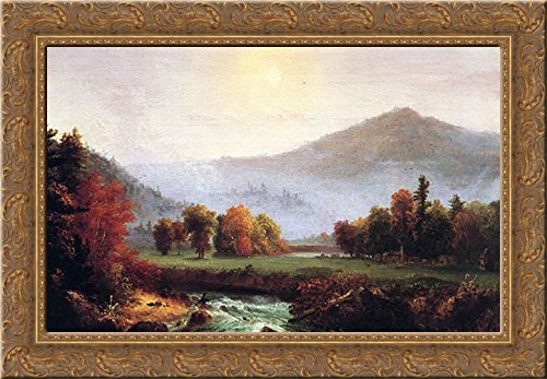 - Morning Mist Rising, Plymouth, New Hampshire (A View in the United States of America in Autumn) 24x19 Gold Ornate Wood Framed Canvas Art by Cole, Thomas
