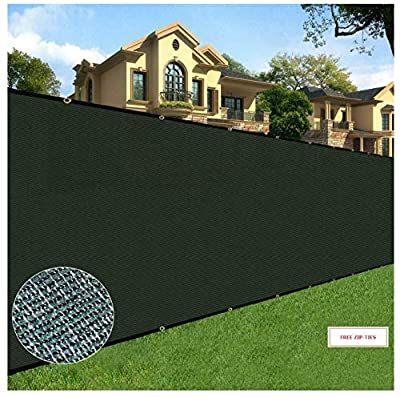 BOEN Privacy Screen Fence Netting Mesh Fabric Windscreen with Reinforced Aluminum Grommets for Garden Fence Or Any Outdoor Metal or Wooden Fencing Green with Free 100 Pack Zip-Ties 6 Ft. X 50 Ft.