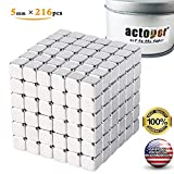 actoper Magnetic Cube 216pcs 5mm Magnets Blocks Multi-Use Square Cube Magnets Toy Stress Relief Toys for Kids