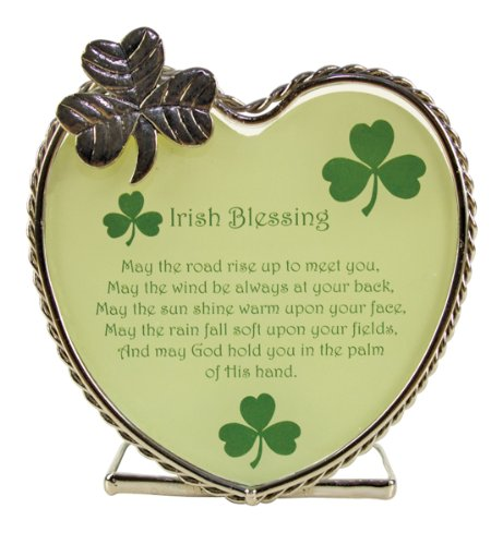BANBERRY DESIGNS Irish Blessings Candle Holder - May the Road Rise up to Meet You Poem - Heart Shaped Tea Light Candle Holder - Shamrocks - St Patrick's Day Decoration - Irish Gifts - Irish Decor