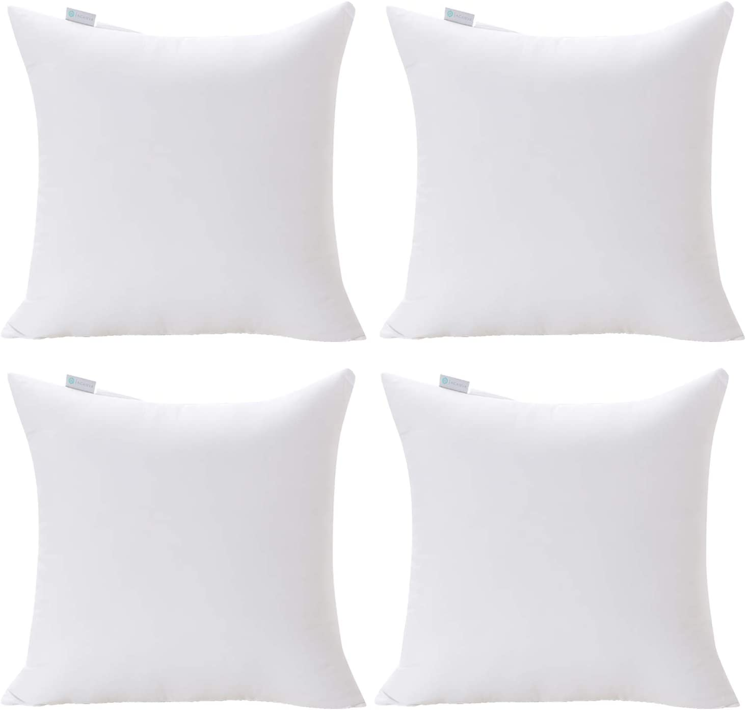 Acanva Decorative Square Throw Pillow Inserts Hypoallergenic Form Stuffer Cushion Sham Filler, 20x20, White 4 Piece