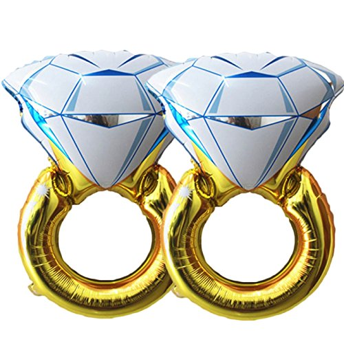 BlankIt! Concepts 1 11 Set of 2 Giant 45 Diamond Engagement Ring Mylar Balloons for Proposal Vow Renewal Valentines Day Bridal Shower Wedding Bachelorette Parties Decorati, Regular-2, Gold, White