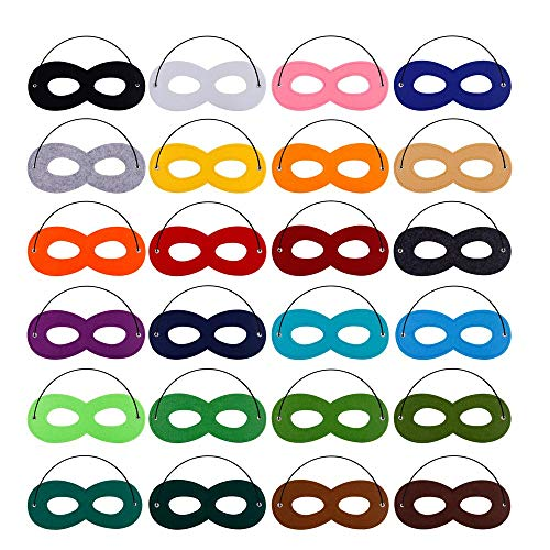 Superhero Masks Cosplay Half Party Eye Hero Felt Masks with Elastic Rope for Kids Party Halloween Christmas 24 Pack -