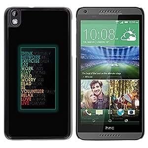 TopCaseStore / la caja del caucho duro de la cubierta de protección de la piel - Funny Motivational Message - HTC DESIRE 816
