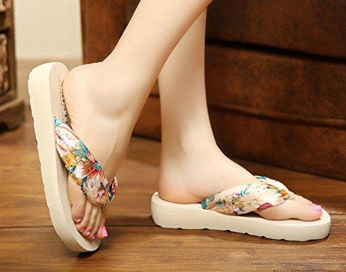 DANDANJIE de Pour Gros Tongs Sandales paternité Chaussures de Beige Bohème de Enfants Plage Vacances Pantoufles Été Chaussures paternité On4xYrOq8