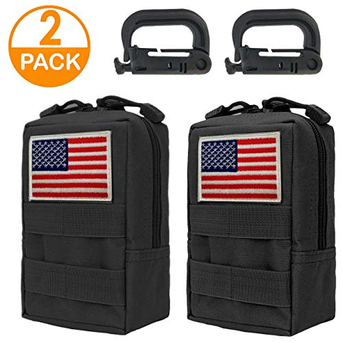 Genleas 2 Pack 1000D Nylon Tactical Molle Pouches Compact EDC Multi-Purpose Compact Tactical Waist Bags Utility Gadget Small Waist Bag Pack with D-Ring Hook ()