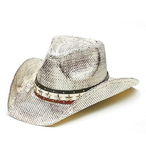 (Vamuss Men's Vintage USA American Flag Cowboy Hat w/Western Shape-It Brim (White Stone Wash))