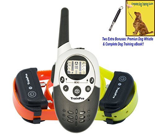 TrainPro M86 Dual 1100 Yard Shock Collars for Dog Training. Improve Behavior or! SAFETY Control with 8 Adjustable Levels. Great for OPEN FIELD Adventures. Guaranteed for Bark (Swat Dog Costume)