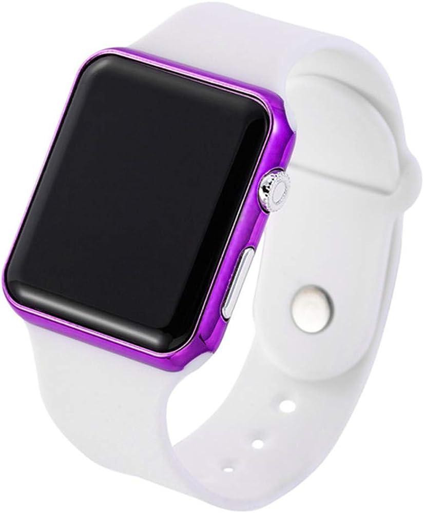 RRWL Reloj LED Deportivo y de Ocio para Mujer Reloj Digital Unisex Reloj de Pulsera de Silicona para Parejas Regalosnavideños Blanco Púrpura
