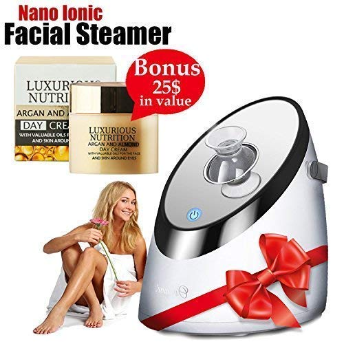 Bring Your Skin Back to Life with Nano Ionic Facial Warm Mist Sprayer Portable Misting Humidifier Automatic Moisturizing Vaporizer with Adjustable Nozzle and Mirror + European Facial Cream + E-Book