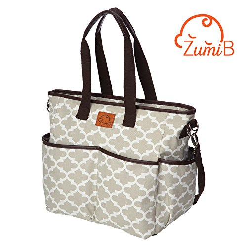 ZumiB - Large Diaper Bag | Diaper Tote Bag For Baby | Easy Access Open Pockets | Includes Sturdy Stroller Straps and Padded Changing Pad Baby Sac Diaper Bag