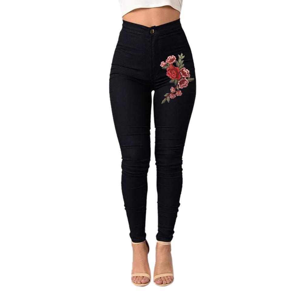 Italily Donne Magro Jeans Floreale Applique A Vita Alta Allungare Matita Pantaloni Donne Primavera Estate Autunno Jeans Pantaloni Slim Skinny Stirata Jeans Slim Fit Pencil Pants