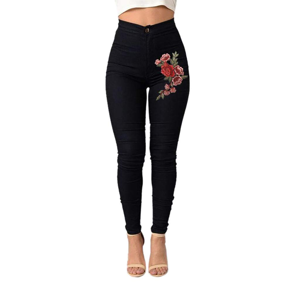 VECDUO Women Skinny Sexy Floral Embroidered Jeans High Waist Stretch Pencil Pants Black