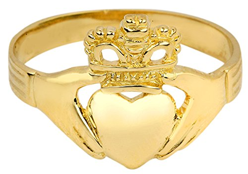 Polished 14k Yellow Gold Classic Claddagh Ring (Size 7)