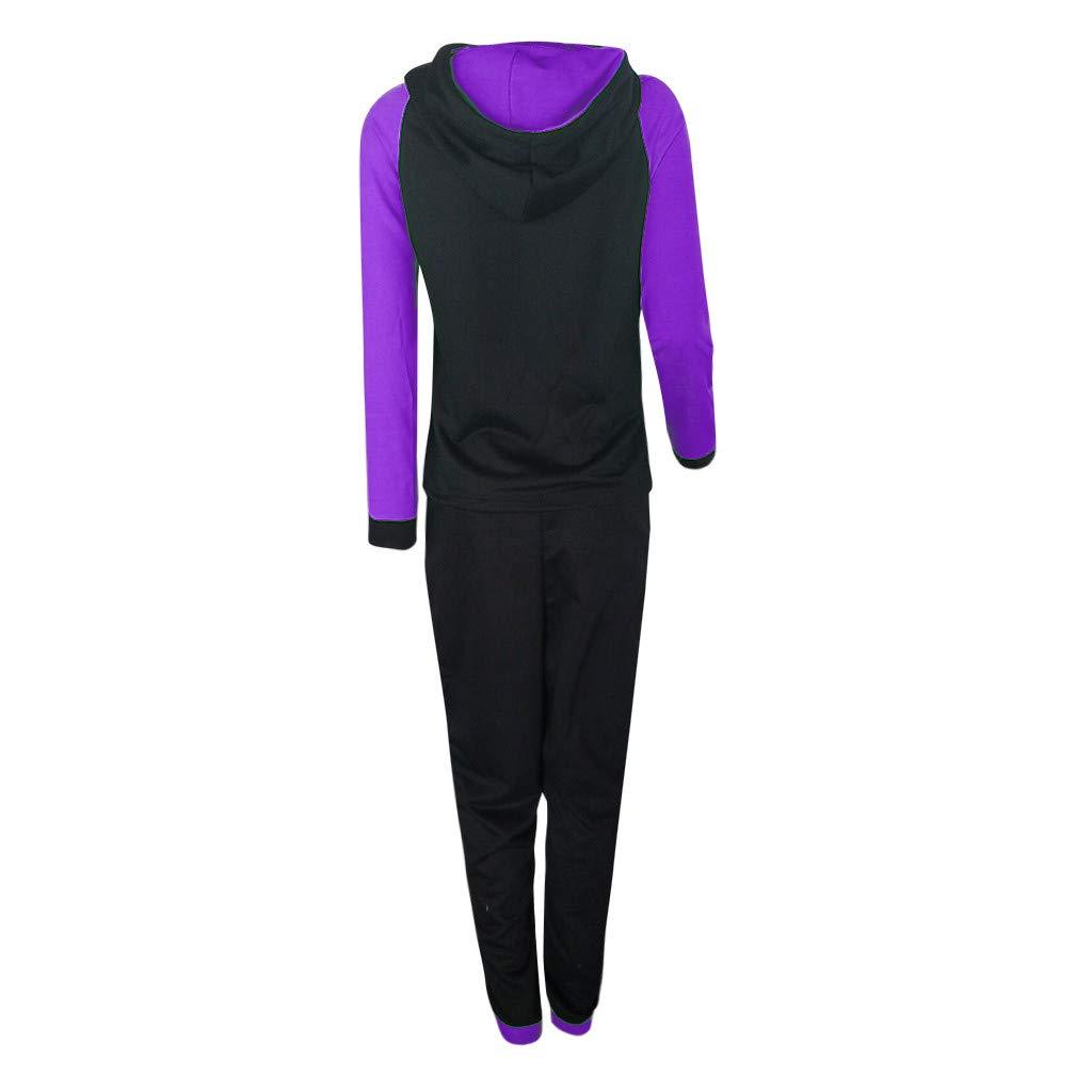 Women Casual Splice Tracksuit Sweatshirt Zipper Hoodies Long Sleeves Pullover Sport Tops+Long Sweatshirts for Pants Set by iLUGU (Image #3)