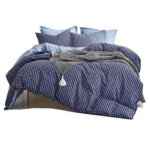 (Uozzi Bedding 3 Piece Navy Duvet Cover Set (1 Duvet Cover + 2 Pillow Shams) with Dots, 800 - TC Luxury Hypoallergenic, Zipper Closure, 4 Corner Ties Christmas or New Year Gift Choice (Dot, King))