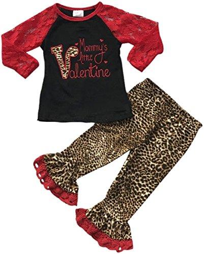 Little Girls 2 Pieces Shirt Set Lace Sleeve Valentine Top Legging Pant Clothing Set Black 5 L (500459)