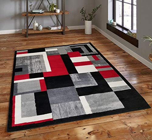 DiscountWorld 5 feet by 7 feet Decorative Geometric Oval Patterns Area Rug Designer's Choice Extremely Durable Stain Resistant Smooty Cozy Pet Friendly, Impressed Rich - Rug Hooked Wool Micro
