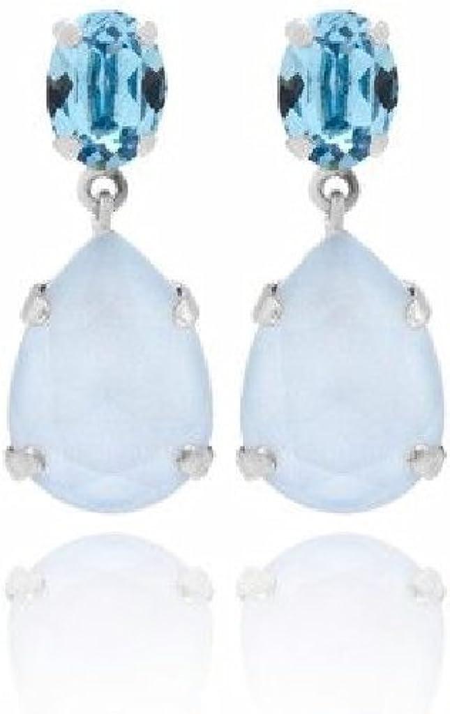 Pendientes Fiesta Mujer Plata 925 mm Cristales SWAROVSKI Azules Tamaño 10 x 25 mm