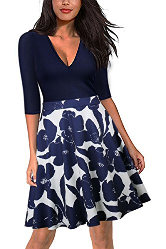 Midi Dress For Women, Summer Sexy Fancy Hawaiian Bohemian Floral Pattern V Neck Half Sleeve Navy Blue&White Polyester Wedding Bridesmaid Evening Prom Party Club Beach Girl Short Skirt Boho (Hawaiian Party Dress)