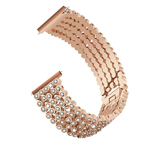 Owill Luxury Full Diamonds Panelled Alloy Replacement Watch Band Wrist Strap For Fitbit Versa, Band Length: About 160MM (Rose Gold) - Full Diamond Watch Band