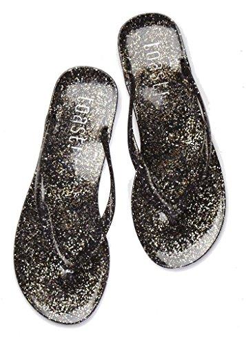 Womens Jelly Glitter Flip Flops Sparkle Beach Shoes Slip on Thong Sandals (8, Galaxy (Glitter Jelly)