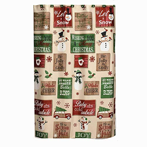 Christmas Signs Shower Curtain & Hook Set