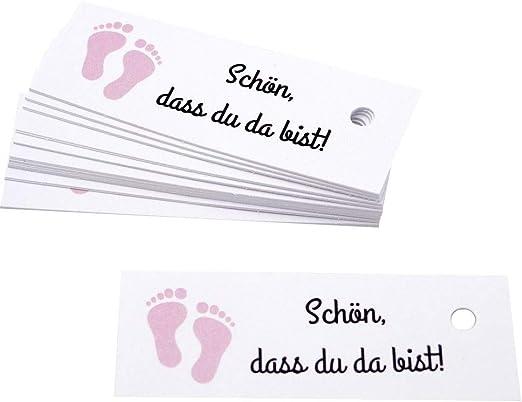 25 Kärtchen Anhänger Gastgeschenk Taufe Mädchen Baby Füße Rosa Schön Dass Du Da Bist Deko Tischdeko