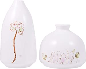 AUUM White Vase for Home Decor, Ceramic Floral Lotus Pattern Decorative Bud Vases for Centerpieces, Kitchen, Office, Wedding, or Living Room-Set of 2