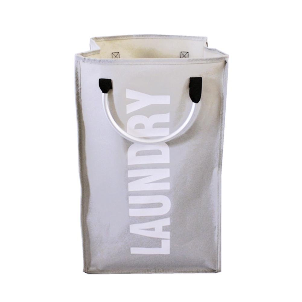 Siloverone Folding Laundry Basket Bag Aluminum Alloy Handle Clothes Organizer Holder