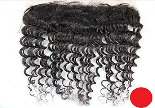 "DaJun Hair 6A Lace Frontal Closure 13""*2"" Peruvian Human Virgin Hair Deep Wave Natural Colour (trademark:DaJun)"