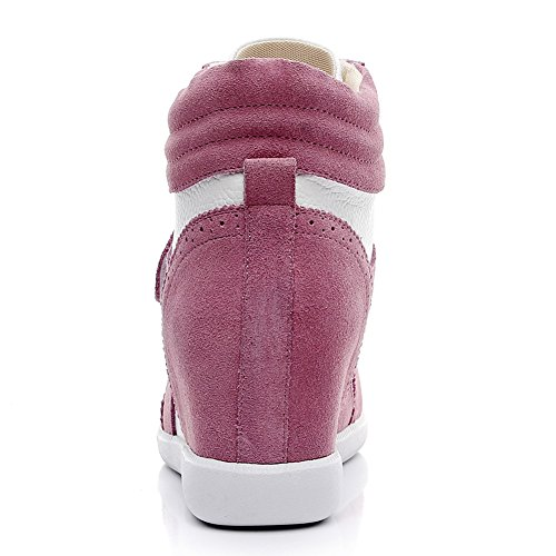 Donna Cuneo Rosa Fibbia in Scarpe Zeppa Sneaker amp;bianco Lavoro Lacci Informale Cima rismart AqU1wd1