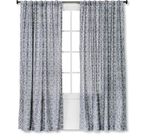 Threshold One Window Curtain Panel Gray White Tile 54 in x 84″