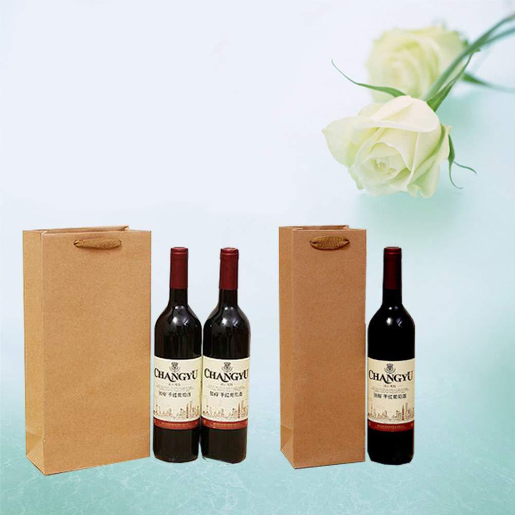 Vosarea Sacs /à vin en Papier Kraft 24pcs avec poign/ées pour Cadeaux Vente au d/étail et Produits d/ériv/és Single-Vessle 11 * 9 * 35