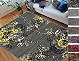 Handcraft Rugs - Yellow/Grey/Silver/Black/Abstract Area Rug Modern Contemporary Flower-Patterned Design