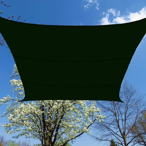 BlueDot Trading Square Waterproof Shade Sail - 12ft by 12ft (Green)