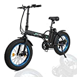 ECOTRIC 20' New Fat Tire Folding Electric Bike Beach Snow Bicycle ebike 500W Electric Moped Electric Mountain Bicycles ... (Black and Blue)
