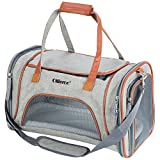 "Ollieroo Pets Travel Carrier Airline Cat Carrier Soft-Sided with Pet Mats for Small Dogs and Cats (Gray-(18"" L X 11"" W x 11""H))"