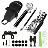 Odoland Bike Pump, Patch Tool, 210 PSI Bike Pump with Gauge, Fits Presta and Schrader Valve, Portable Bicycle Tire Pump with Complete Set of Bike Tire Repair Kits and Black Work Bag