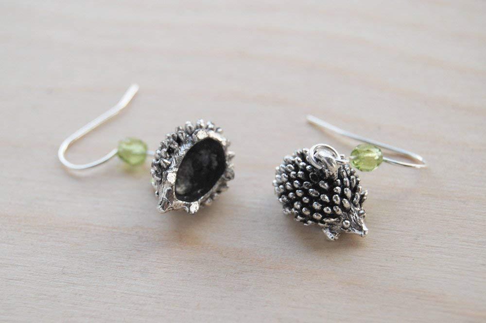 Little Silver Hedgehog Earrings Cute Hedgehog Charm Earrings Enchanted Leaves