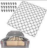 web cargo netting - TacoNets 48x60 Bungee Netting Truck Cargo Net w/ 20 Clips & Bag for Full-Size Bed Coverage - No-Tangle Pickup Accessories   8mm Heavy Duty Universal Fit Elastic Mesh & Rugged Stretch Payload Safety