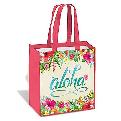 ハワイアン 不織布 再利用可能 食料品 ショッピングトートバッグ アロハフローラル B07MM2WNFR