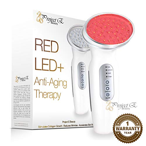 Project E Beauty RED Light Therapy Machine - Collagen Boost 630nm - Skin Firming and Lifting. Rechargeable/USB/Wall Plug Charging - Light Emission Control Sensor -