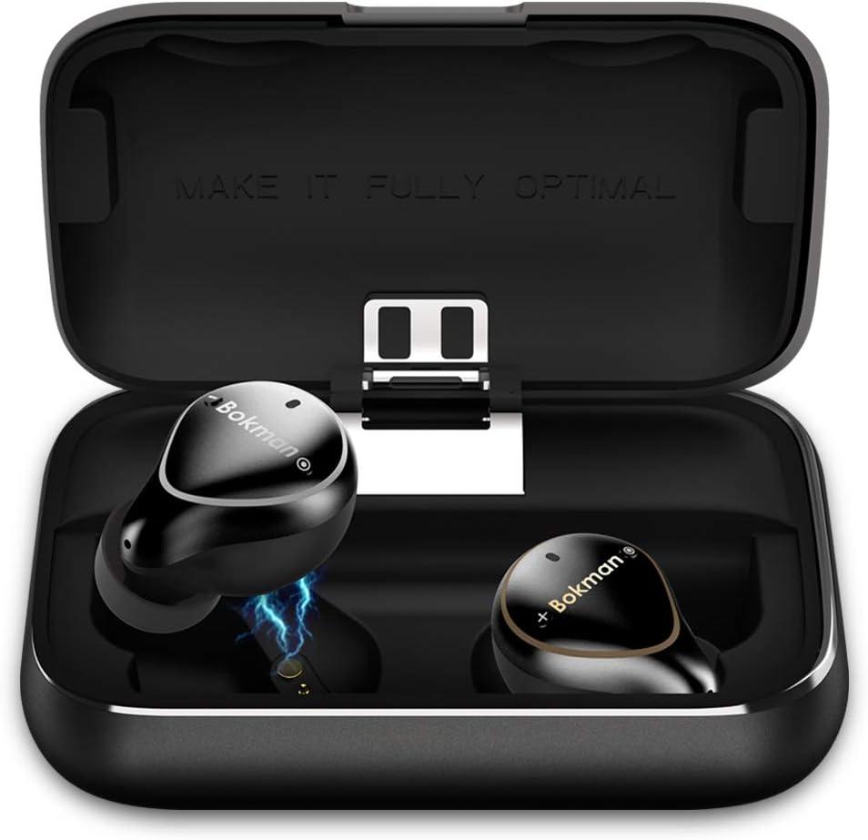 Auriculares Bluetooth, bokman O5 Plus Auriculares Bluetooth 5.0 In-EarInalámbricos Conmutación Libre de Modo Mono y Estéreo IPX7 con 2600 mAh Caja de Carga Portátil para iPhone y Android (Negro)