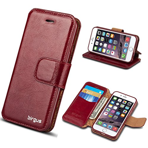 Genuine Cowhide Leather Case (iPhone 6 Plus/6S Plus Leather Case, Wallet Leather birgus Case [ GENUINE Leather of Cowhide ] for Apple Smart Phone 6/6S Plus 5.5